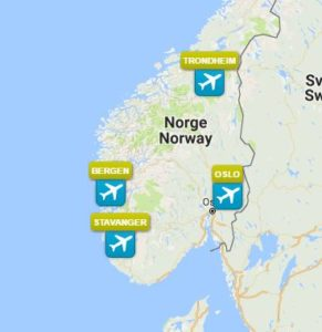 Direkte fly Norge